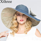 Xthree reversible summer hat for women Superlarge brim Beach cap sun hat female England Style