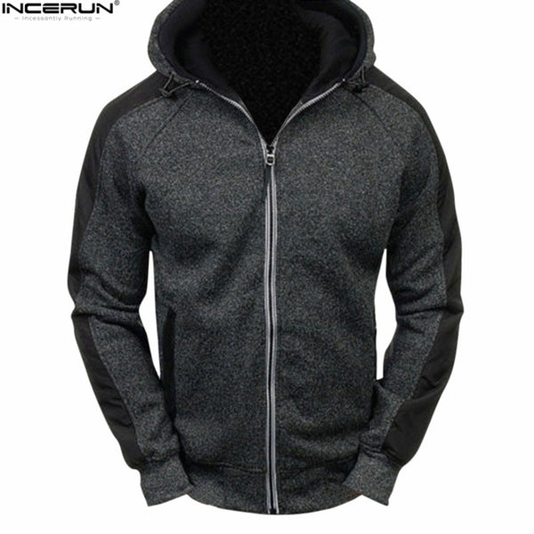 INCERUN 2018 Autumn Winter Casual Men's Sweatshirt Hooded Fleece Warm Hooded Coat Men Hoodies Tracksuit Zipper Cardigan