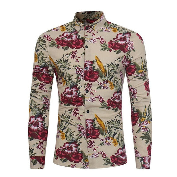 2018 Men's Fashion Flower Printing Dress Shirts Long Sleeve Slim Fit Soft Shirt Men Social Shirt camisa masculina Plus Size 3XL