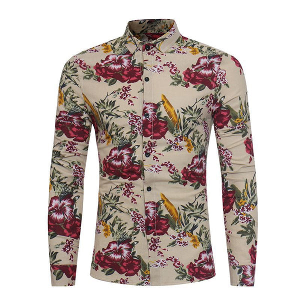 2018 Men's Fashion Flower Printing Dress Shirts Long Sleeve Slim Fit Soft Shirt Men Social Shirt Plus Size camisas para hombre