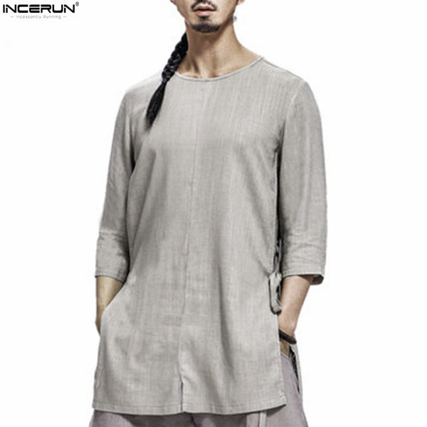 New Chinese Style Traditional 3/4 Sleeve Summer Pure Color Collarless Shirt Men Casual Men's Linen Cotton Slim Fit Shirts Male