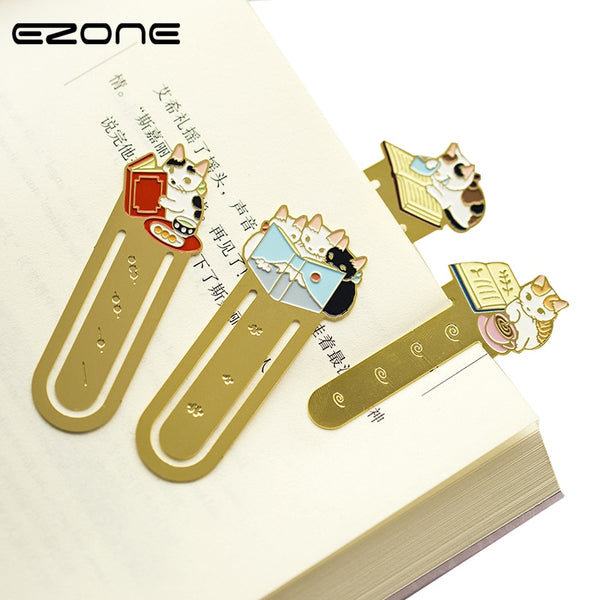 EZONE 1PC Cartoon Cat Bookmark Kawaii Kittens Metal Bookmark Book School Office Supplies Stationery Creative Cute Student Gifts