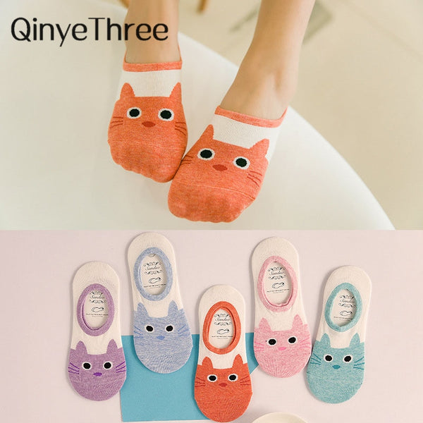 cute harajuku print cat socks women summer korean animal funny cute low cut ankle sock happy candy color sock sokken