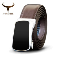 COWATHER Black Men Belt Cow Genuine Leather Belts For Men Automatic Alloy Buckle Male Strap Cowhide Fashion Style New Straps