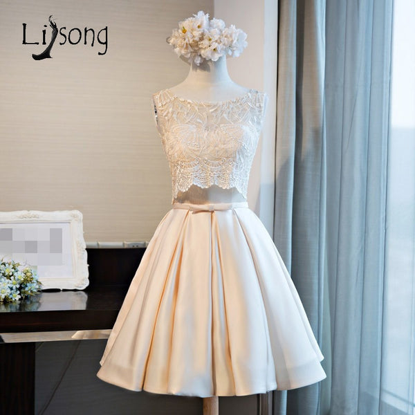 2 Pieces Lace Tank With Knee Length Satin Skirt  Fashion Homecoing Dresses Bow Graduation Dresses For 8th Grade 2017 A177