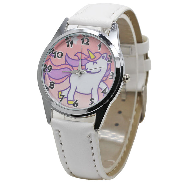 2018 Hot Watch Fashion Cute Unicorn Cartoon Girl Boy Child Quartz Watch Waterproof SportS Leather Watch Women Baby Watch Gift