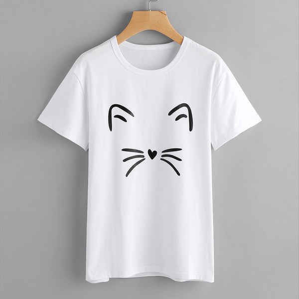 Women Fashion Casual Short Sleeve O-Neck Cat Printed Causal Blouse Tops T-Shirt