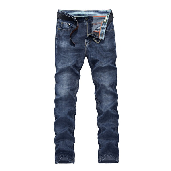 Free Shipping Men Brand Jeans Fashion Thin Long Pants Men Cotton Elastic Straight Loose Quality Long Trousers D85