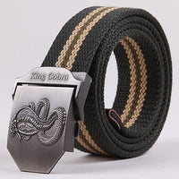 High quality 2018 New cintos thicken snake canvas belts King Cobra military belt Army tactical belt men strap cinto masculino