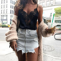 Women Lace Vest Sleeveless Loose Crop Tops Tank Tops Blouse Tops T-Shirt