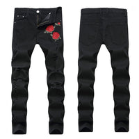 2018 Black Ripped Jeans Men Flowers Rose Embroidered Men's Denim Pants Stretch Skinny Jeans Hole Pants Street Biker Jeans