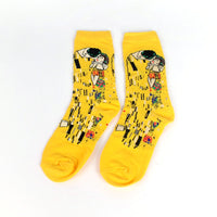 Male Socks Oil Funny Sock Van Gogh Mural World Famous Painting Series Fashion Retro Women New Personality Art Sock Man Summer