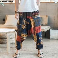 Ethnic Retro Men's Cross-Pants Wide Leg Linen Harem Pants Men Elastic Waist Loose Print HipHop Pants Man Joggers Crotch Trousers