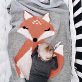 Cute Fox Bear Animal Printed Knitting Air-Condition Swaddle Wrap Baby Toddler Kids Towel Wool Quilt Newborn Bedding Blanket