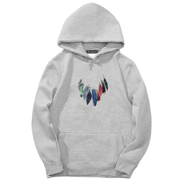 2018 Brand Man Hip Hop Long Sleeve Feather Necklace Printed Hooded Sweatshirt Mens Hoody Tracksuit Sweat Coat Casual Sportswear