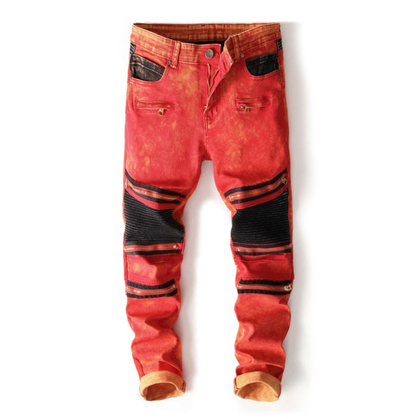 2018 New Mens Knee Zipper Jeans Red&Black Destroyed Ripped Hole Nightclubs Skinny Denim Pants Fashion Street Zipper Trousers
