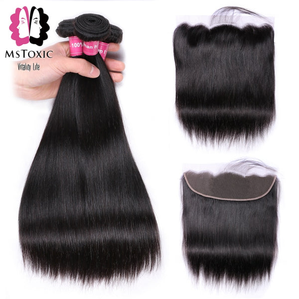 MSTOXIC Peruvian Straight Hair Bundles With Frontal Non-Remy Human Hair Bundles With Closure Lace Frontal Closure With Bundles