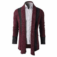 2018 Knitted Cardigan Men Sweater Men Shawl Collar Long Sleeve Open Front Pull Homme Casual long mens cardigans Winter Knitwear