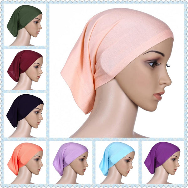 Muslim head cap Inner Hijabs for women square hijabs ladies headscarf islamic scarf hat shimmer femee cheap wholesale