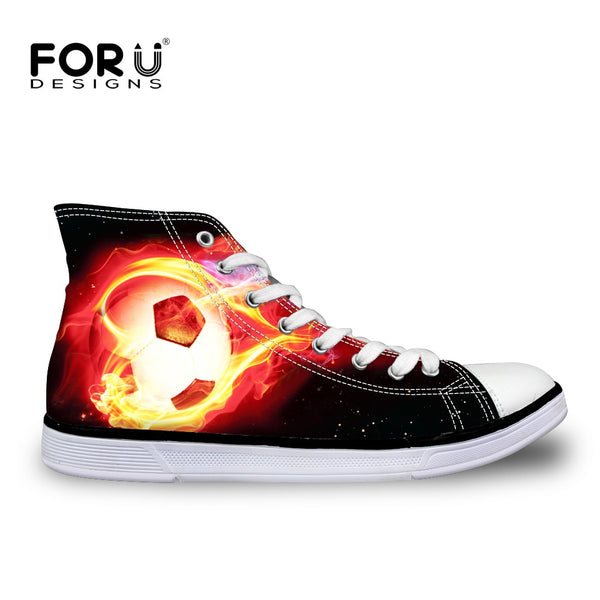 FORUDESIGNS Men's Vulcanize Shoes Flats Cool Fire Ball Brand Designer High Top Lightweight Canvas Shoes Zapatos Hombre Sneakers