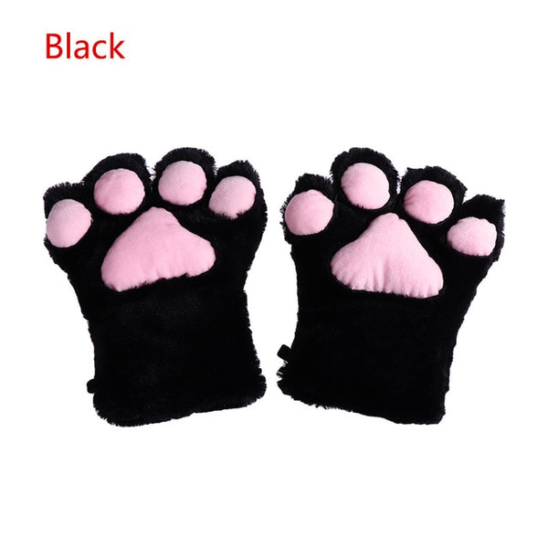 1Pair Women Girls Cute Cat Kitten Paw Claw Warm Gloves Soft Anime Cosplay Plush for Halloween Party Accessories