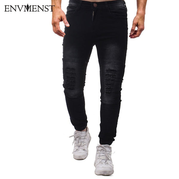 Envmenst Men Jeans Hole Pants Khaki Fold Pleated Solid Light Color Full Length Trousers Splicing Button Ripped Denim Pants