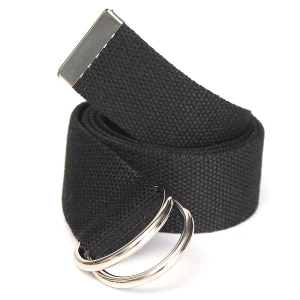 40mm Black Fashion Casual Unisex Canvas Fabric Belt D Ring Buckle Webbing Waist Band