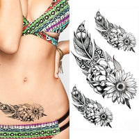 Black big flower Body Art Waterproof Temporary Sexy thigh tattoos rose For Woman Flash Tattoo Stickers 10*20CM KD1050