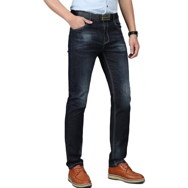 2018 New Arrived Quality Brand Men Jeans Casual Waist Straight Long Jeans Solid Cotton Casual Long Trousers For Male D83