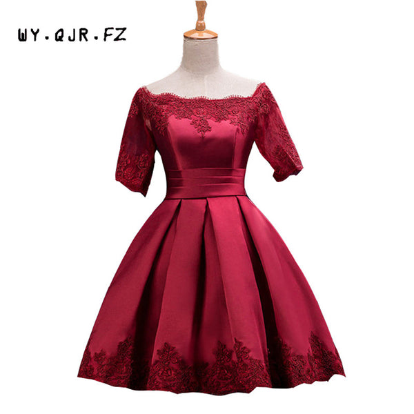 HJZY110#The new plus size wine red prom party bride toast suit Off Shoulder dress short bridesmaid dresses 2018 wholesale cheap