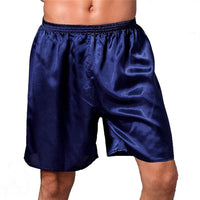Comfortable Satin Silk Pajama Shorts Men Sleep Bottom Solid Elastic Waist Boxer Beach Shorts Loungewear Male Bottom 2018 Summer