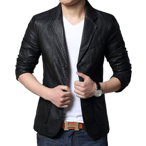 2018 Spring & Autumn Men's Leather Suits Men fashion suit casual slim fit Oversized Leather Blazers Plus size Male Leather Coats