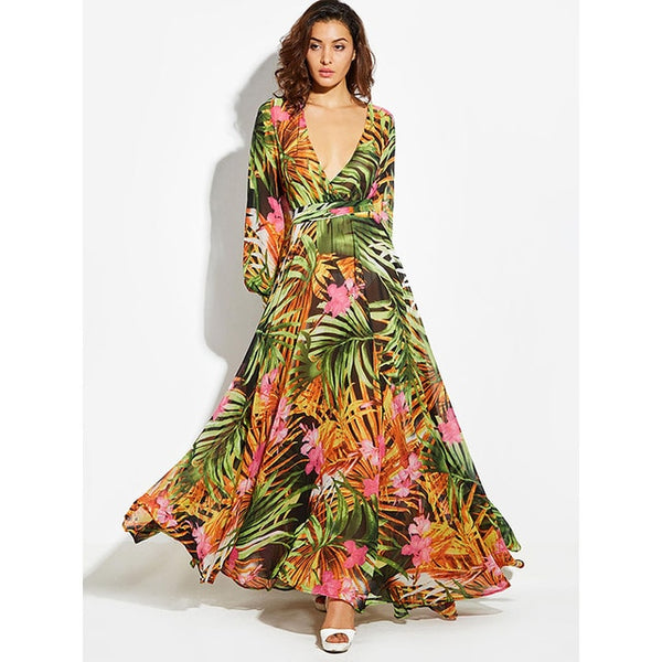 vestidos Maxi Dress Vintage long Sleeve Beach Dress Tropical Pluse Size Boho V Neck Dress Belt Lace Up Tunic Green Print Dress