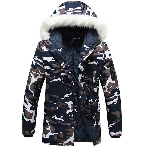 2018 New Arrival Brand Camouflage Men's fur lined Winter Coats Army Jacket Fashion Casual Parka Long Thick Outerwear S - XXL