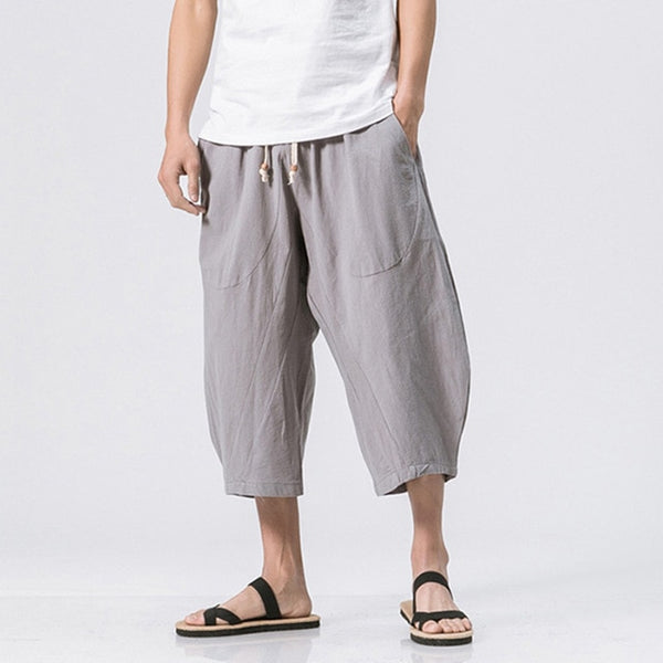 2018 Summer Men Casual Harem Pants Chinese Style Solid Drop Crotch Pant Men Calf-Length Loose Cotton Linen Trousers Male 5XL 4XL