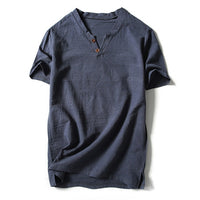 2018 New Arrival Summer Short-sleeved Shirts Men 100% Cotton Linen Solid Color Slim Fit Plus Size Collarless Shirt Plus Size 5XL