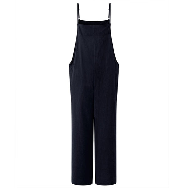 2018 Women Solid Brief Cotton Dungaree Overalls Casual Loose Vintage Bib Romper Suspender Wide Leg Long Pants Pockets Jumpsuit