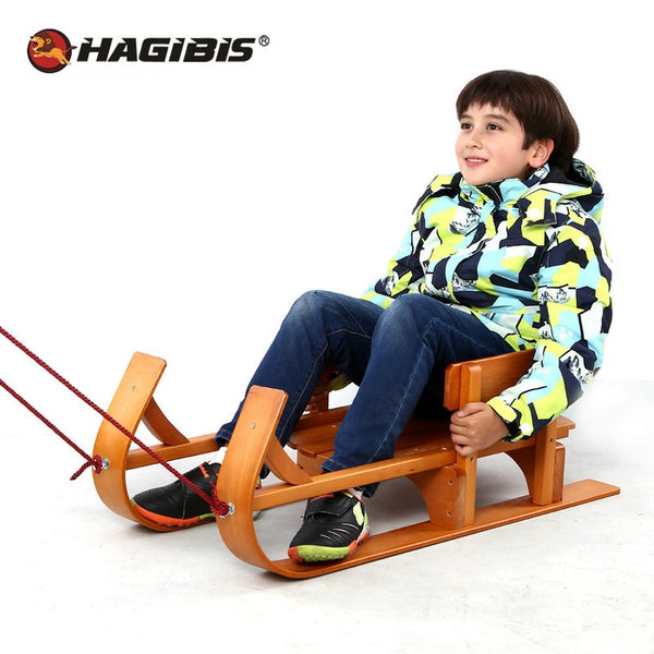 HAGIBIS Wood Child Sled, Kids beech Sledge Skating Board, Winter Outdoor Sport Sled, snow sledge, slittino neve