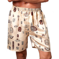 Casual Silk Men Sleepwear Shorts Boxers Loose Pajama Elastic Waist Nightwear Underpants Underwear Summer Comfortable