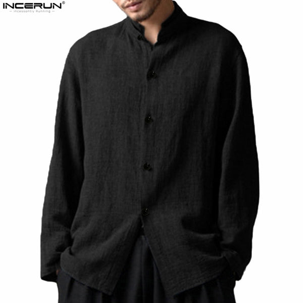 INCERUN Casual Man's Shirts Chinese Collar Shirt Men Cotton Linen Stand Collar Long Sleeve Shirts Men Clothes 2018 Plus Size 5XL