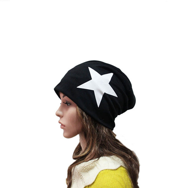 Unisex Warm Winter Beanie Hat Five-pointed Star Patterned Slouchy Ski Hat Oversize Hip Hop Cap Color:black