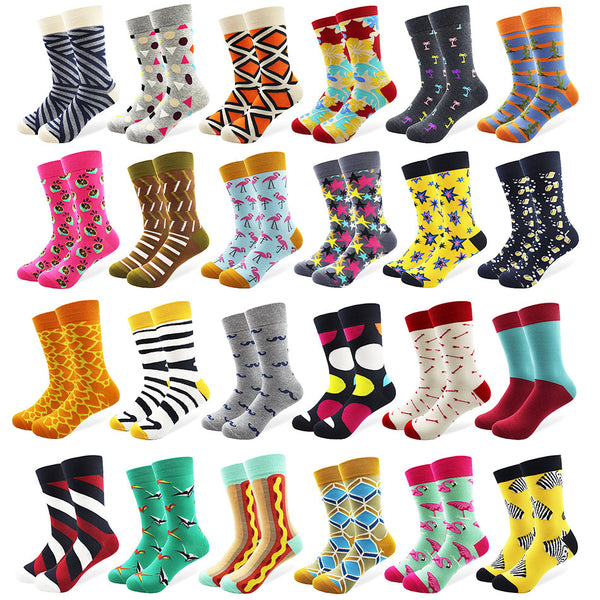 29 Patterns Men's Funny Combed Cotton Happy Socks Colorful Multi Pattern Long Tube Skateboard Casual Socks for Men