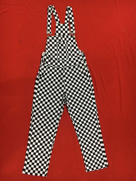 Plus Size Kpop Ulzzang Street Hiphop Straight Wide Leg Overalls Cotton Denim Pant Suspender Jumpsuit Checkerboard Plaid Trouser