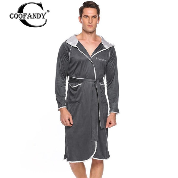 Belt Casual Hooded Long Sleeve Patchwork Pocket Bathrobe with Men