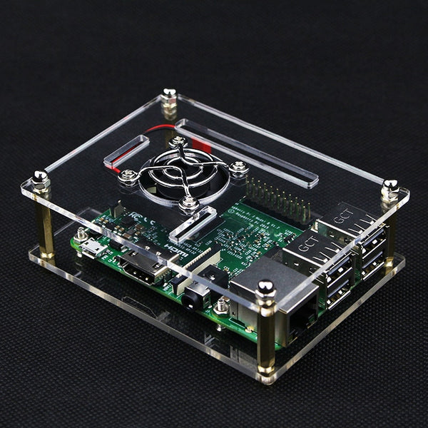 Newest Raspberry Pi 3 Model B+ Transparent Acrylic Case + Cooling System External Fan compatible for Raspberry Pi 3 B+/ 3 / 2
