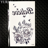 Black Triangle Rose Flower Temporary Tattoo Summer Feather Birds Tattoo Stickers Women Party Waterproof Tatto Girls Body Arm Art