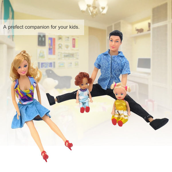 4Pcs Baby Dolls Father+Mother+2 Kids Dress Up Kit Children Toys Kids Toys 4 People Family Dolls Suit Removable Joints