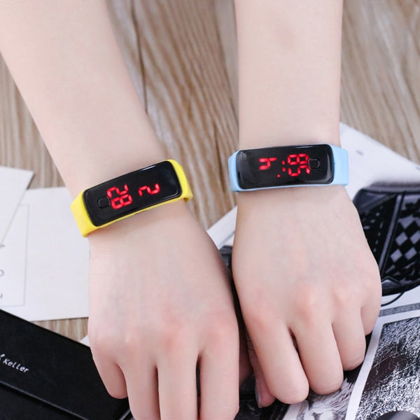 JOYROX Fashion LED Display Digital Sports Watch Hot Silicone Strap Children Wristwatch Girls Boys Kids Candy Color Clock