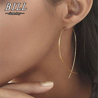 ES143 Fish Shaped Stud Earrings Simplicity Handmade Copper Wire Earring for Women Brincos de gota Feminino 2018 Geometric NEW