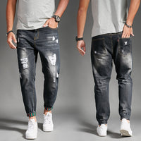 2018 New Men's Fashion Summer Thin Section Holes Jeans Stretch Korean Trend Slim Jeans Men's Casual Harlan Pants CL4656.